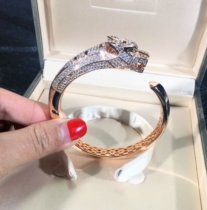 Bijoux de fête de mode chaude pour les femmes Rose or noir motif panthère bijoux de mariage bracelet léopard bijoux réglables - 2