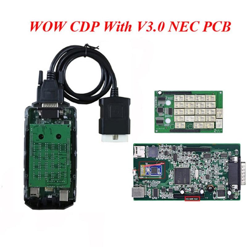 все цены на (5pcs/lot) V3.0 Double Green NEC PCB Bluetooth WOW TCS CDP Scanner with v5.00.8 R2 Version VD TCS CDP PRO PLUS for cars trucks онлайн