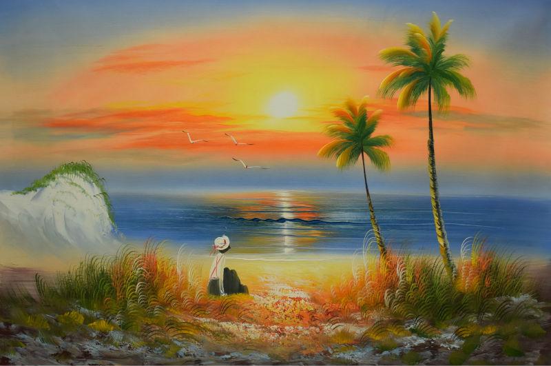 Peint à La main Paysage Marin Peinture À L'huile sur Toile
