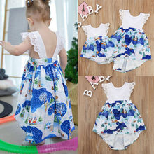 2018 Cute Fashion Little sister and big Sister Matching Dress Cotton Lace Sleeve Cartoon Print Dress And Romper