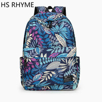 HS RHYME 3D Printing Backpack Fashion Flower Travelling 14 Inch Laptop Bag High Quality Canvas School Racksacks