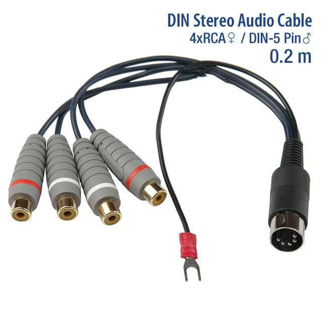 GoSo Gold Plated 5P DIN to 4 RCA Female with Ground Line Adapter ...