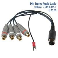 GoSo Vergulde 5 P DIN naar 4 RCA Vrouwelijke met Grond lijn Adapter Kabel Audio Video AV Kabels Lengte 0.2 m 5 Pin
