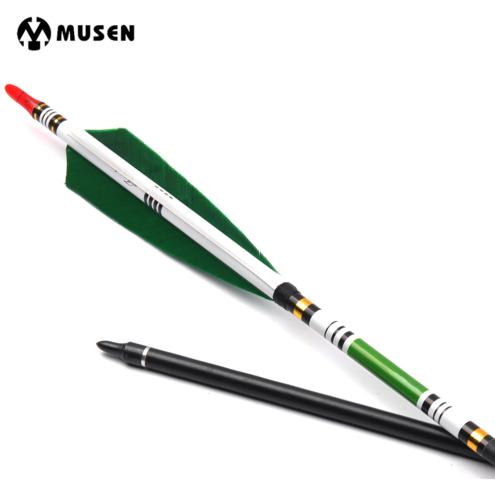 6/12/24pcs 85cm Spine 500 Carbon Arrows with 2 Green 1 White Turkey Feather White Green Stickers for Hunting Shooting Archery 4pcs 100
