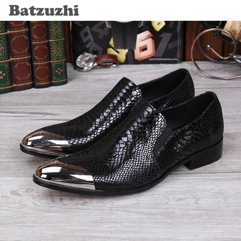 Batzuzhi New 2017 Տղամարդու սև կաշվե կոշիկ Front - Տղամարդկանց կոշիկներ