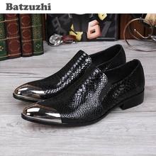 Batzuzhi New 2017 moške črne usnjene čevlje spredaj kovinske kapice moške obleke čevlje oblikovalec čevlji moški, EU38-46! Zapatillas Hombre