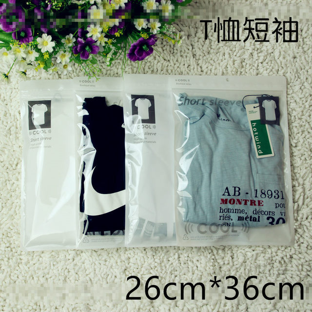 50 Pcs Plastic Bags White T Shirt Packaging Self Press Seal Resealable Zip Lock Clear Storage
