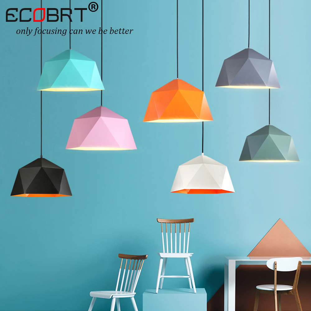 [ECOBRT]Modern simple colorful iron hanging lamps with E27 socket for restaurant study bar living room bedroom pendant lights ceiing mounted modern hanging lamps kids bedroom colorful balloons acrylic pendant lighting for restaurants bar