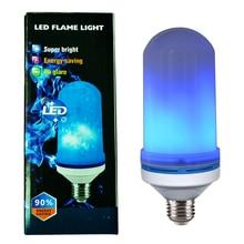 Новый Дизайн 4 режима синий свет E26/E27 светодиодный пламя лампы вверх тормашками эффект имитация декоративные Винтаж освещение атмосферы лампа