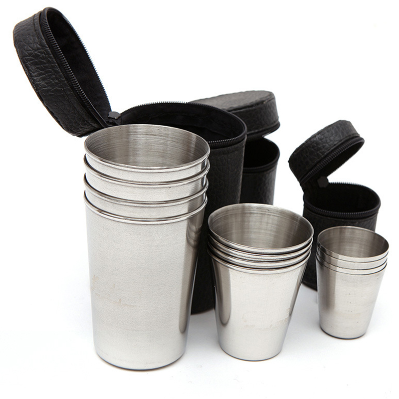 4pcs/Set Outdoor Practical Stainless Steel Cups Shots Set Mini Glasses For Whisky Wine Portable Drinkware Set H