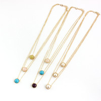 XQ Free shipping The new fashion Multilayer pendant inlaid pearl powder SPAR, lemon and necklaceGirl gift party girl gift