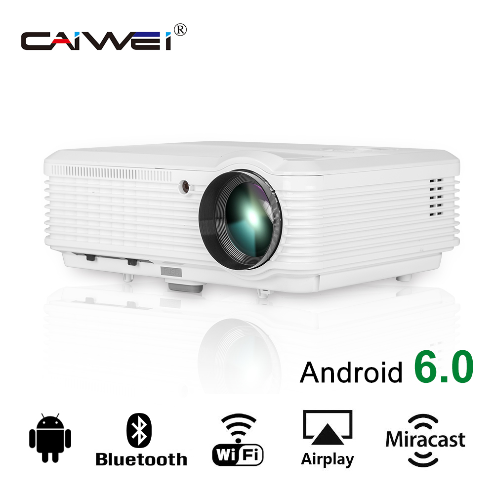 CAIWEI HD Video Android WIFI Projector LCD LED Home Theater Proyector Online Movies Game Google Play XBox TV HDMI VGA USB