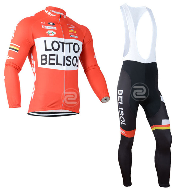 2014 lotto belisol team Winter Thermal fleece Cycling Jersey long sleeve   tight pants gel pad  bike clothing  ropa ciclismo d91e4d942