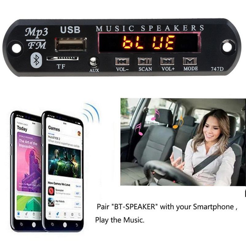 With Mic Handsfree Bluetooth MP3 Decoder Board Car FM Radio Module  Support FM TF USB AUX Audio Player Bluetooth car kit 12V2
