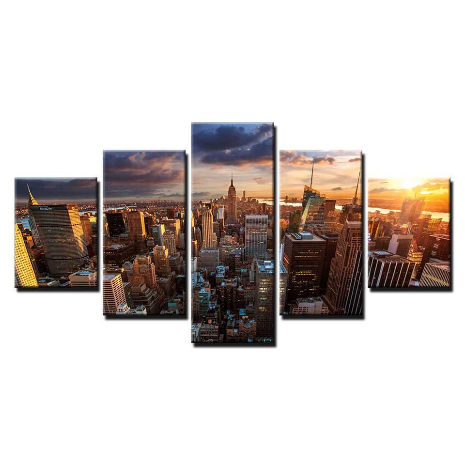 5 قطع قماش اللوحة صور مدينة نيويورك أفق الغروب بناء المشهد غرفة ديكور طباعة ملصق مؤطرة جدار الفن