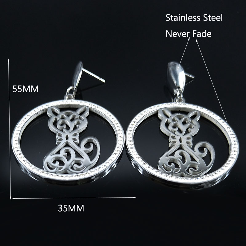 2019 Cat Crystal Stainless Steel Stud Earing for Women Silver Color Stud Earrings Jewelry joyeria acero inoxidable mujer E612764 in Stud Earrings from Jewelry Accessories