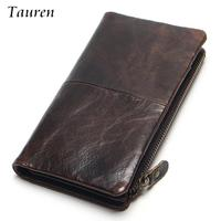 2015 New Luxury Vintage Retro 100 Genuine Oil Wax Leather Cowhide Men Long Wallet Wallets Coin