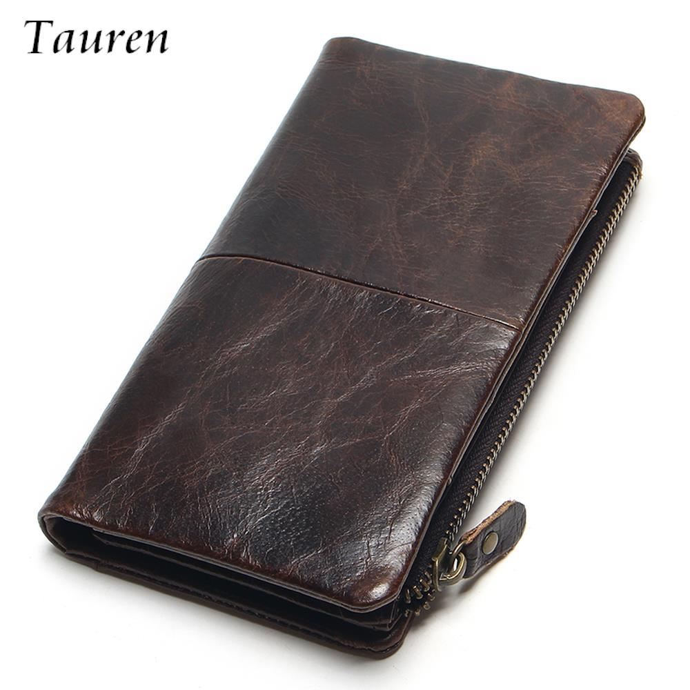 100% Genuine Oil Wax Leather 2017 New Luxury Vintage Retro Cowhide Men Long Wallet Wallets Coin Purse Clutch With Zipper For Men dollar price new european and american ultra thin leather purse large zip clutch oil wax leather wallet portefeuille femme cuir
