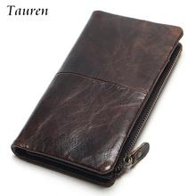 Фотография 2015 New Luxury Vintage Retro 100% Genuine Oil Wax Leather Cowhide Men Long Wallet Wallets Coin Purse Clutch With Zipper For Men
