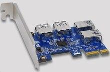 PCI-E para 4 Puertos USB 3.0 de Alta Velocidad Del Convertidor Adaptador de Tarjeta de Expansión PCIe X1 Tarjeta Vertical Para La Minería