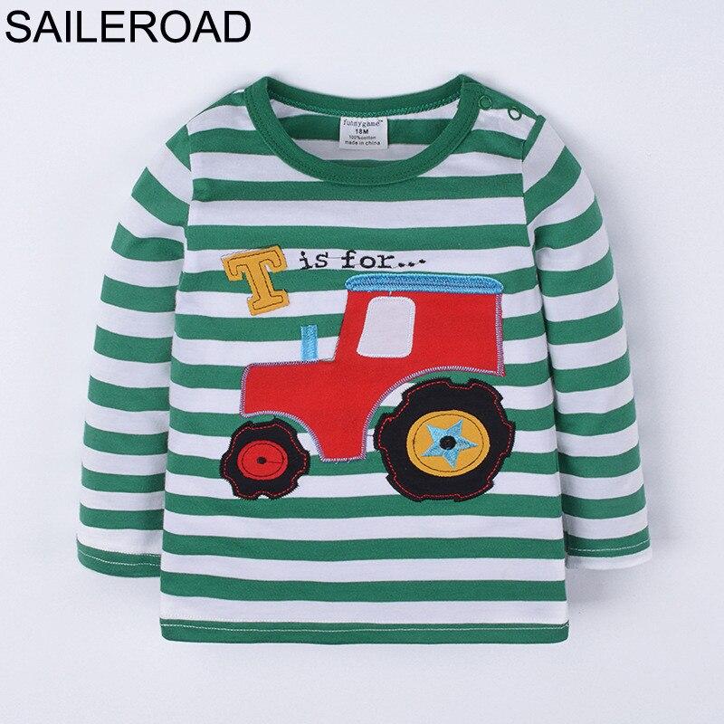 SAILEROAD Cartoon Traktor Fahrzeug Baby Kinder jungen Langarm T Shirt Frühling Herbst Baumwolle Kinder jungen Kleidung 18M-6Years