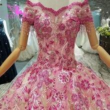 AIJINGYU Satın düğün elbisesi es Önlük 500 Altında Açık Geri Kraliçe Illusion İtalyan Vegas Düğün Müslüman düğün elbisesi
