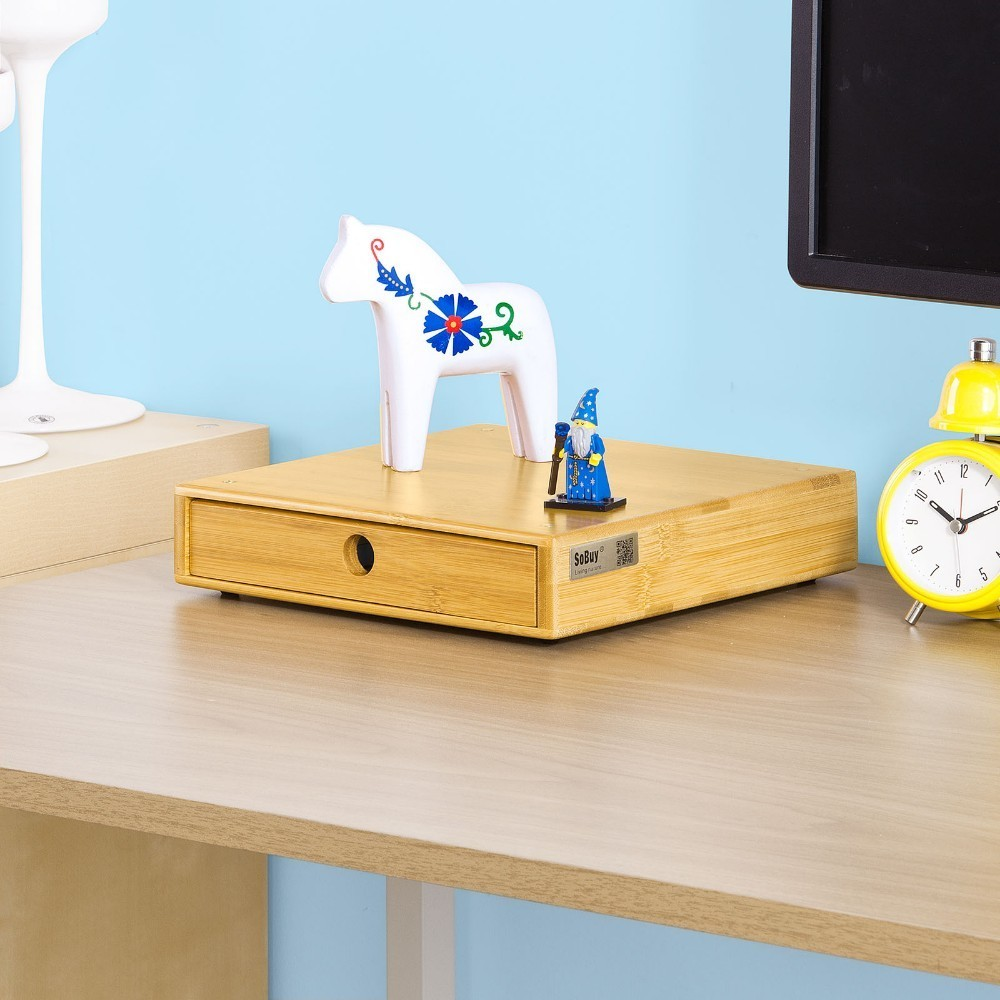 SoBuy Magnetic Stackable Bamboo Home Office Desk Tidy Organiser, Desktop Monitor Stand FRG84-N gift n home