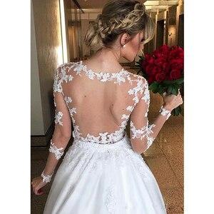 Image 2 - Suknia balowa 2 w 1 suknie ślubne 2020 odpinany pociąg koronkowe aplikacje suknie ślubne z perłami Vestido De Novias robe de mariee