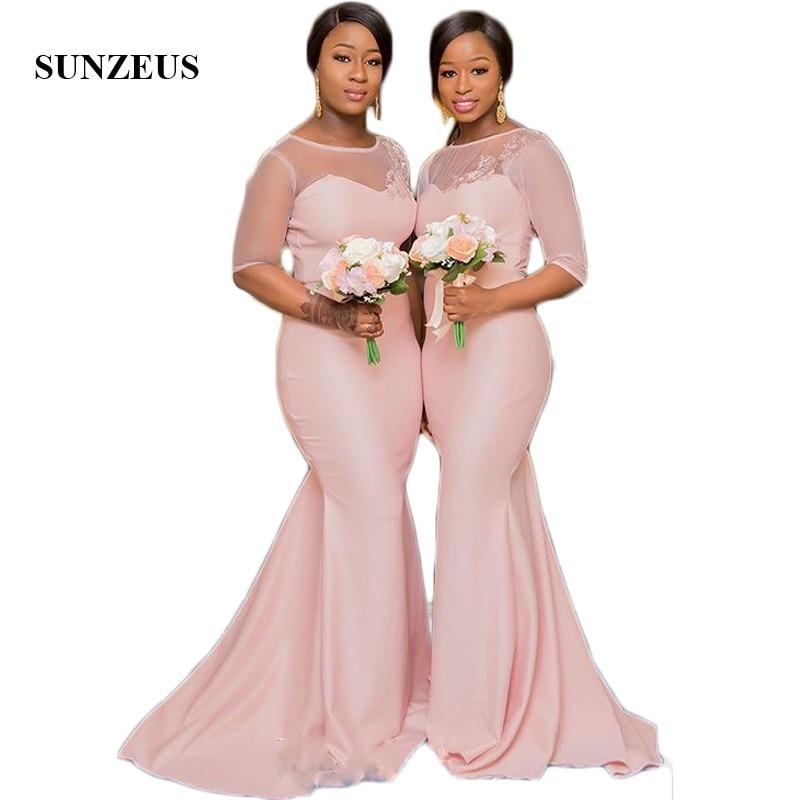 Half Sleeve Tulle Pink Bridesmaid Dresses 2018 Illusion Scoop African Wedding Guest Dresses Appliques Elegant Prom