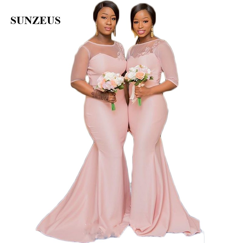 Half Sleeve Tulle Pink   Bridesmaid     Dresses   2018 Illusion Scoop African Wedding Guest   Dresses   Appliques Elegant Prom Gowns SBD73