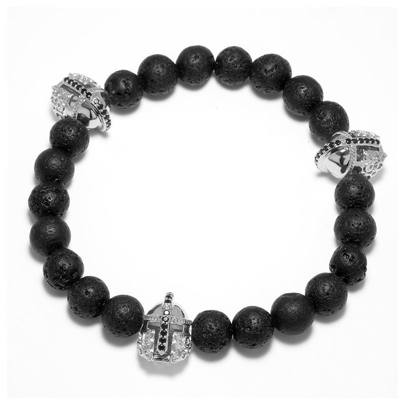 Black Lava Natural Stone Beaded Bracelet for Men Fashion Warrior Helmet Charm Bracelets Jewelry Elastic Rope Male Wristband