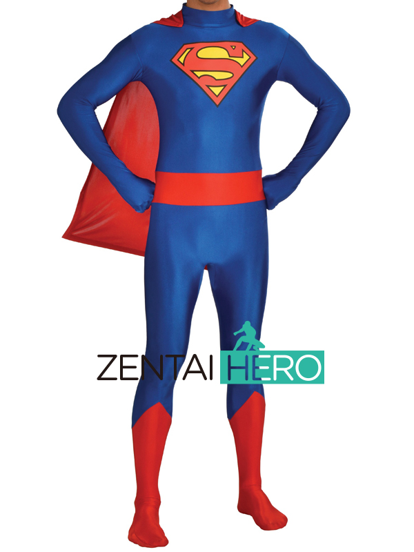 Free Shipping DHL Adult Superman Costume Skin-tight Lycra Spandex Classic Red&Blue Halloween Costume Zentai Suit With Cloak