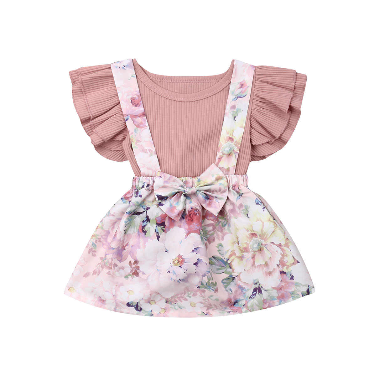 Newborn Toddler Baby Girls 0-3Y Clothes Sets Ruffles Sleeve Pink Romper Tops+Floral Overall Dress