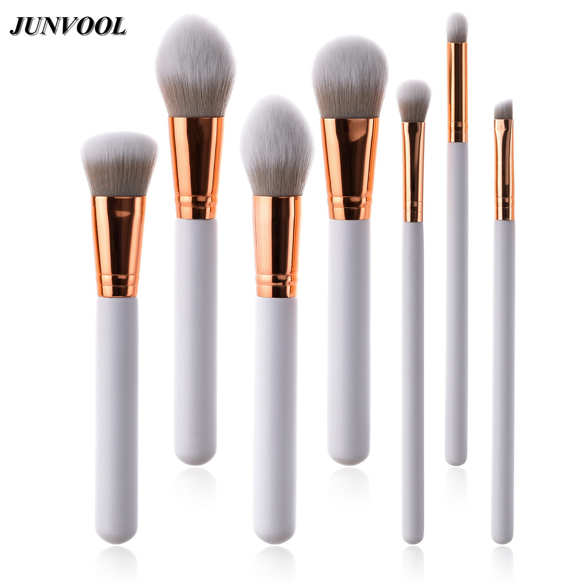 7pcs Makeup Brushes White Gold Pincel Maquiagem Contour Base Foundation Powder Blush Cosmetics Make Up Brushes Wood Handle 12pcs makeup brushes professional make up brush set pincel maquiagem for beauty blush contour foundation cosmetics