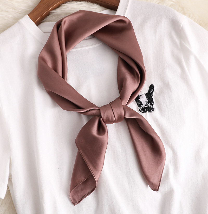 2019 new Spring summer women silk scarf square solid color shawl and wrap lady hair neck scarves soft office bandana foulard in Women 39 s Scarves from Apparel Accessories