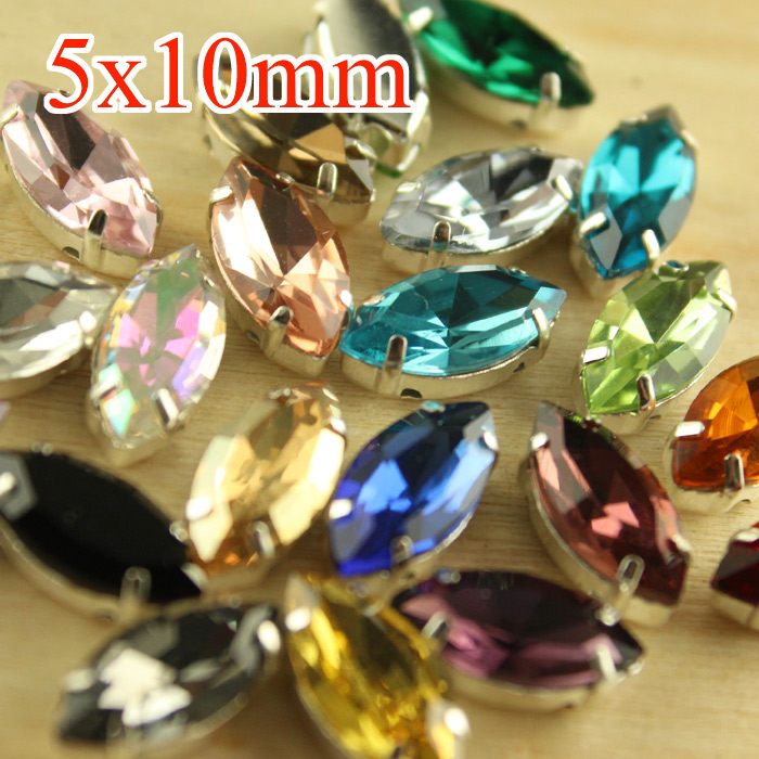50pcs 5x10MM Crystal Sew On Glass Cup Rhinestone Beads DIY Jewelry Craft Gem