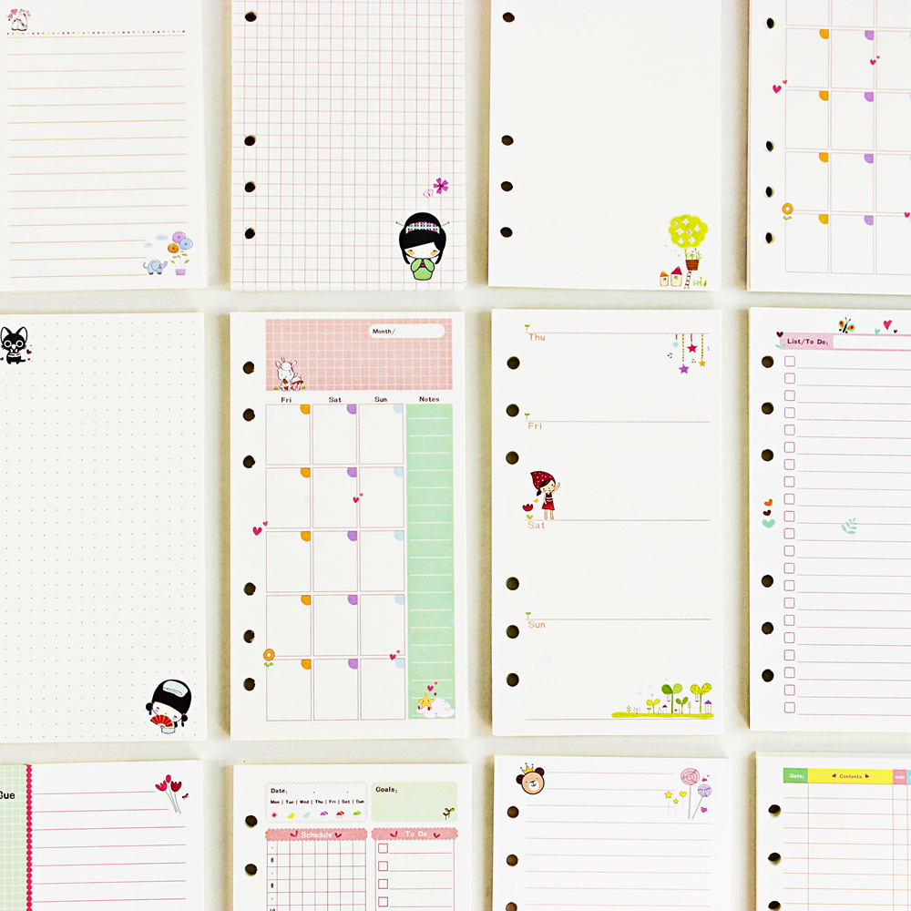 <font><b>A5</b></font> A6 Loose Leaf <font><b>Notebook</b></font> Refill <font><b>Spiral</b></font> Binder Planner Inner Page Inside Paper Dairy Weekly Monthly Plan To do Line Dot grid image