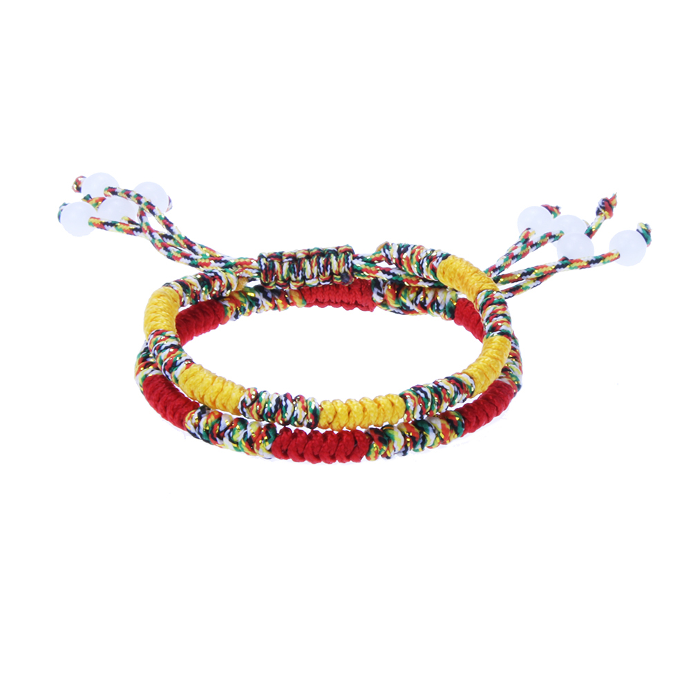 String-Bracelets Buddhist-Knots Tibetan Traditional Handmade Multi-Color Chinese Lucky