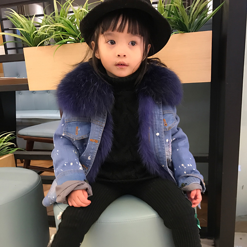 Real Fox Fur Parkas Coat Freeze Cold Spring Winter Children Fur Cowboy Coats Boys/Girls Detachable Clothing Liner Jacket C#34 5 colors 2017 new long fur coat parka winter jacket women corduroy big real raccoon fur collar warm natural fox fur liner