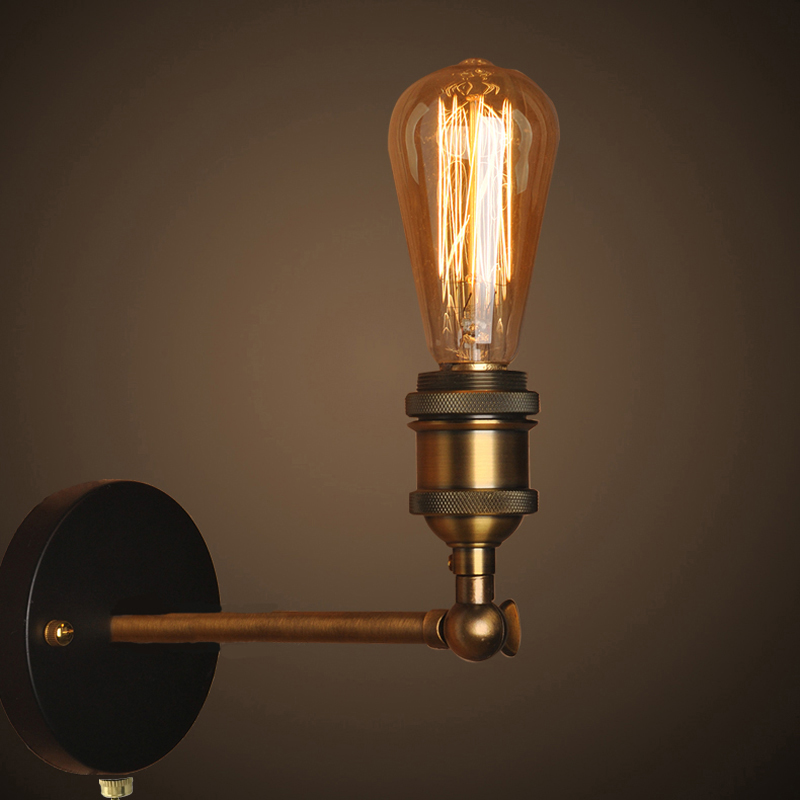 buy pull chain switch loft adjustable industrial metal vintage wall light edison retro wall lamp country style sconce lamp fixtures from