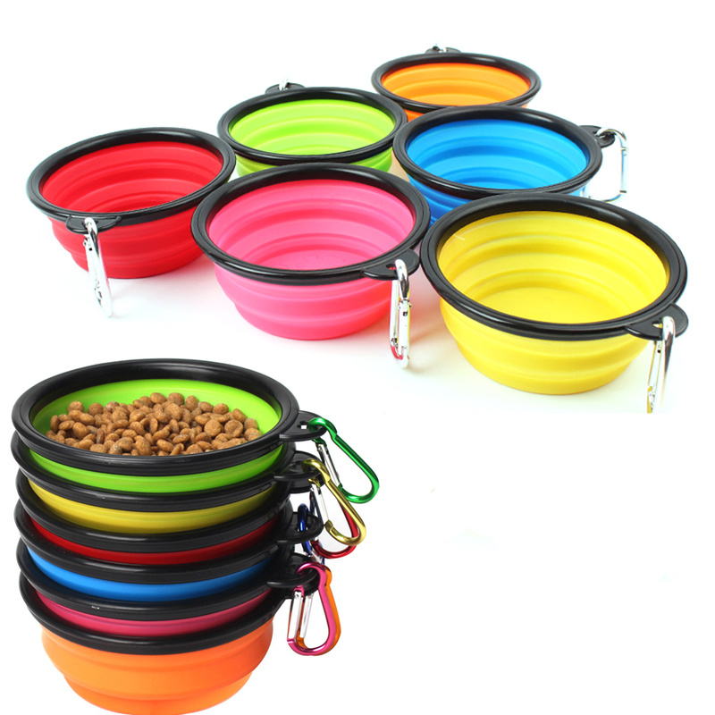 New Collapsible foldable silicone dog bowl candy color outdoor travel portable puppy doogie food container feeder dish on sale(China)