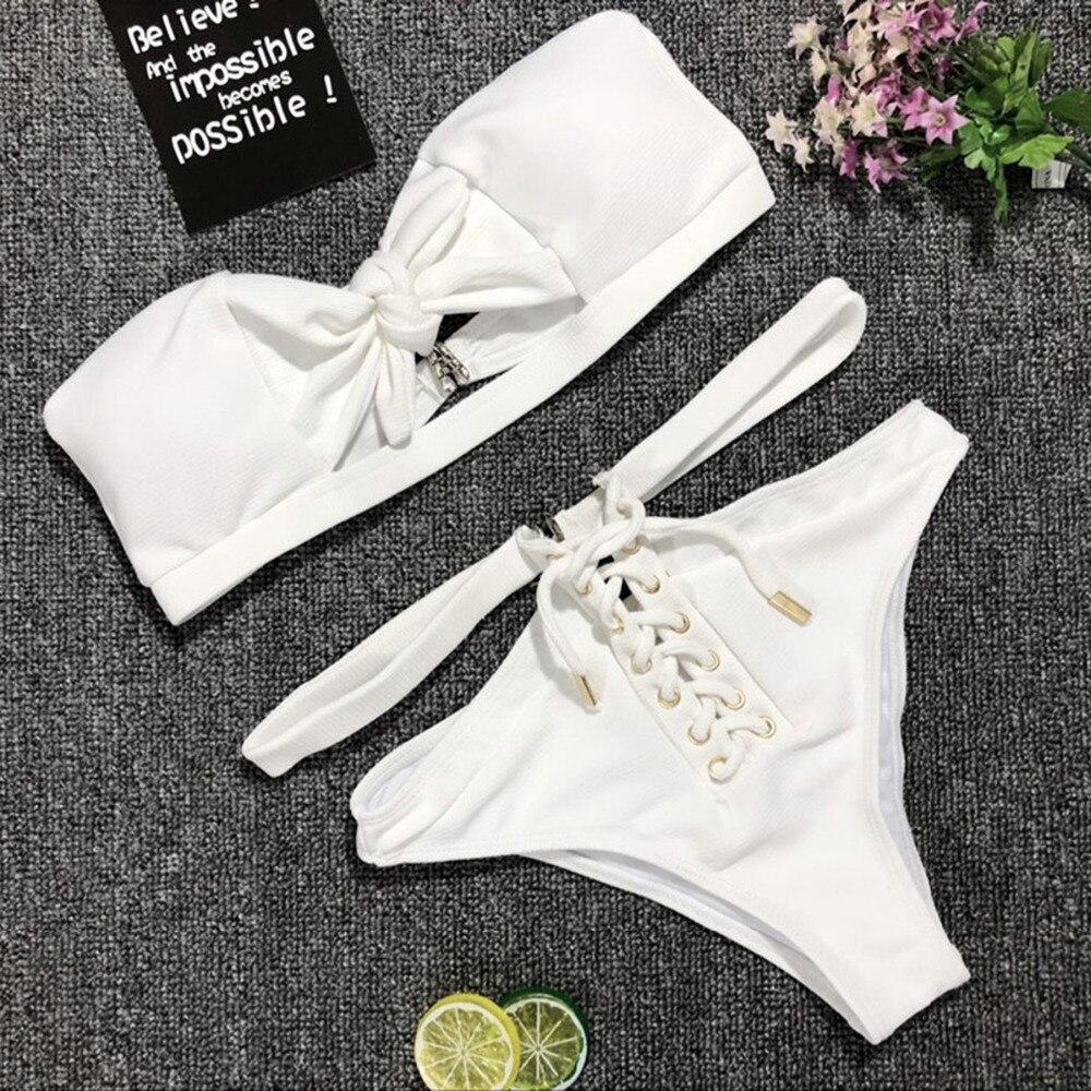 e227ce23b7e4f 2018 Sexy Swimsuit Women's Separate Bikinis Set White Bow Tie Strapless Bra  Swimsuit High Waist Two