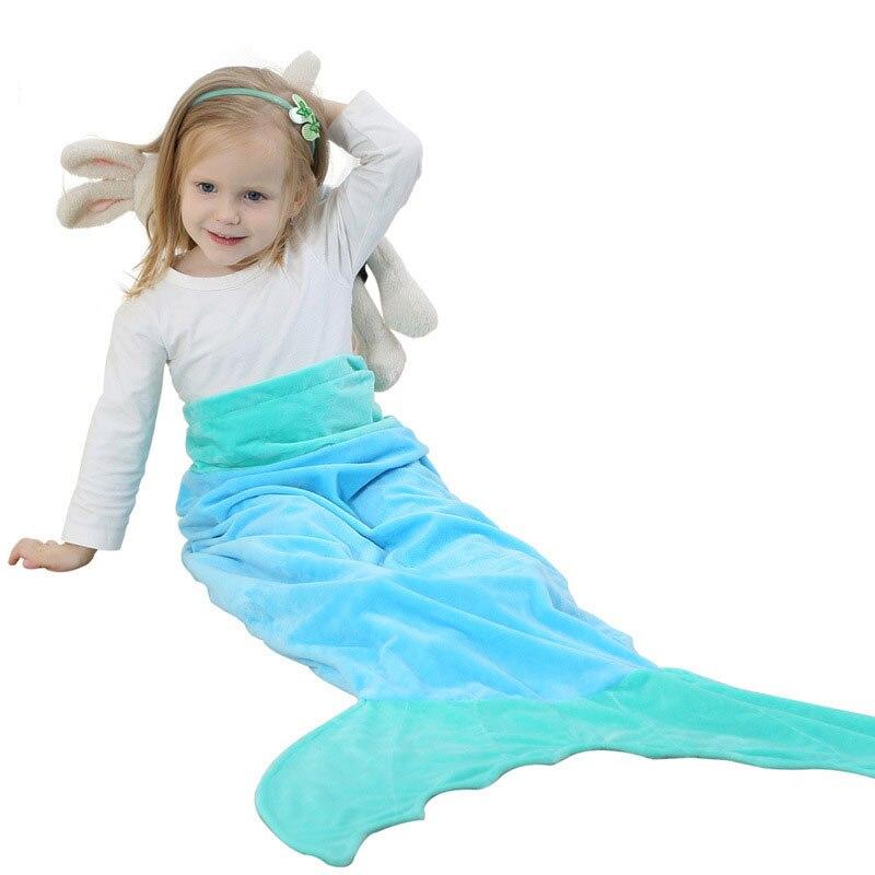 1-7 T 2 Schicht Kinder Gestrickte Mermaid Schlafsäcke Meerjungfrau Schwanz Kinder Bettwäsche Tasche Bunting Kinderwagen Fußsack Kinderwagen Schlafsack Mit Einem LangjäHrigen Ruf
