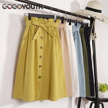 Gogoyouth lato jesień Spódnice damskie 2018 Midi kolana długość koreański elegancki przycisk Wysoka talia spódnica kobieta plisy Szkoła spódnica