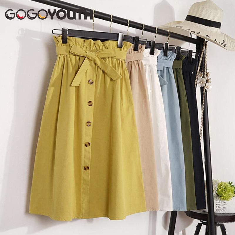 Gogoyouth verano otoño Faldas Mujer 2018 Midi longitud de la rodilla Corea botón elegante cintura alta falda femenina Falda plisada escuela