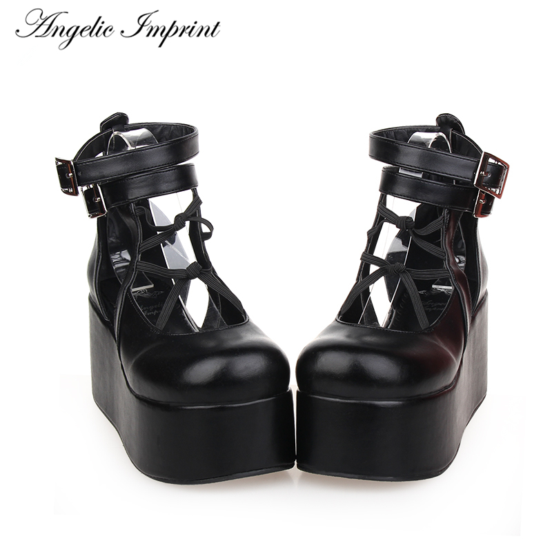 College Style Round Toe Thick Platform Ankle Straps Lolita Cosplay Wedge Shoes