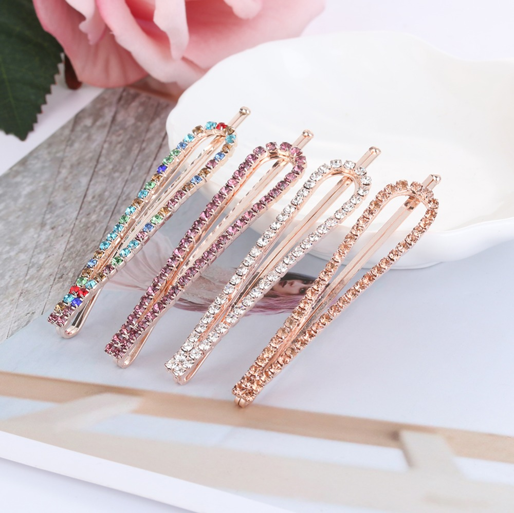 1Pc Geometric   Headwear   Barrettes Gift Fashion Hair Accessories Women Ladies Girls U-Shaped Crystal Rhinestone Hairpin Hair Clip