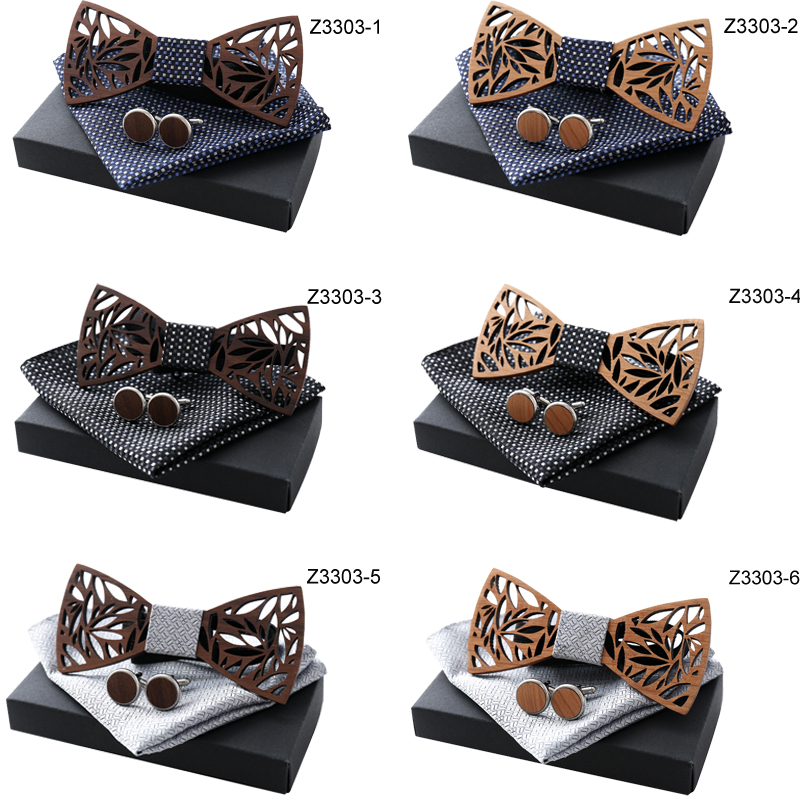 High Quality Wooden Bow Ties Spot Stripe Plaid Design Handkerchief Beautiful Brooch Elegant Cufflinks Sets With Black Gift Box
