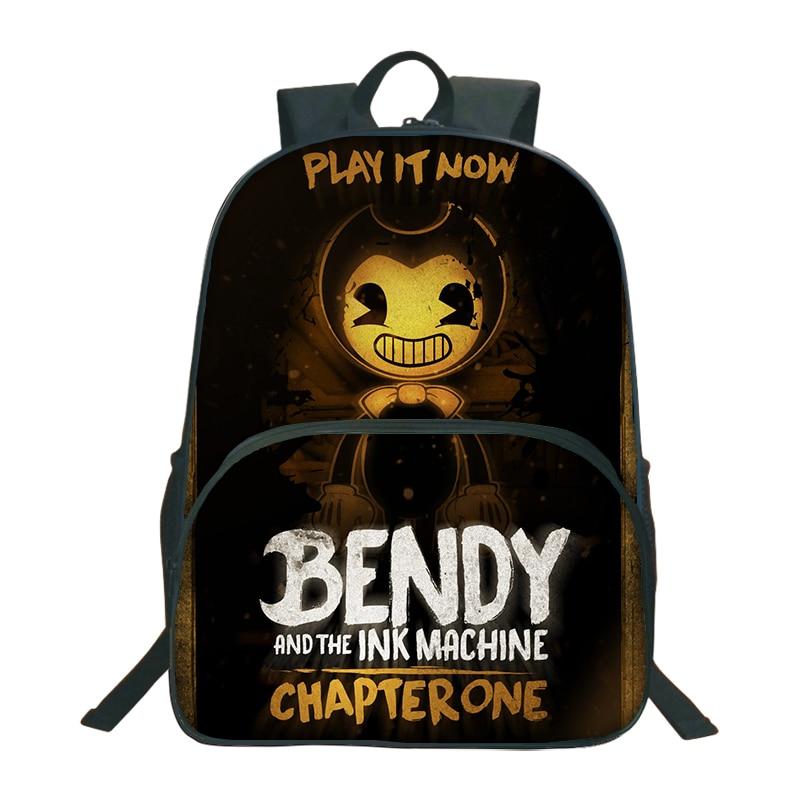 2018 bendy y la máquina de tinta mochila para niños Mochilas y bolsas para el colegio juego de dibujos animados impresión libro mochila diario mochila escolar
