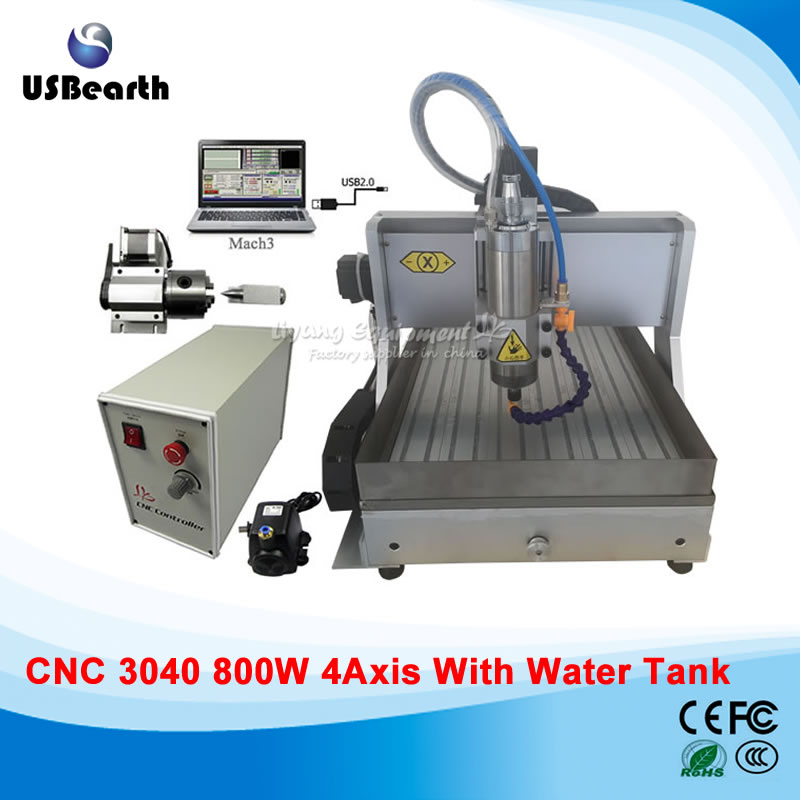 4 Axis CNC 3040 Router Engraver Engraving Cutting Machine CNC 3040 800w, water tank 110v 220v 4 axis 800w usb cnc 3040 water tank cnc router cnc machine milling machine